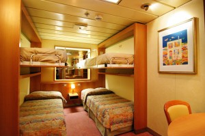Cabins of various size and layout offer  comfortable accommodation for between  one and four participants.  (Pictured: 4-person inside cabin.)